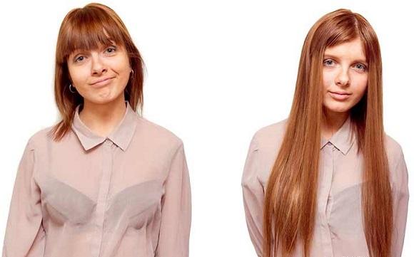 покраска нарощенных волос фото