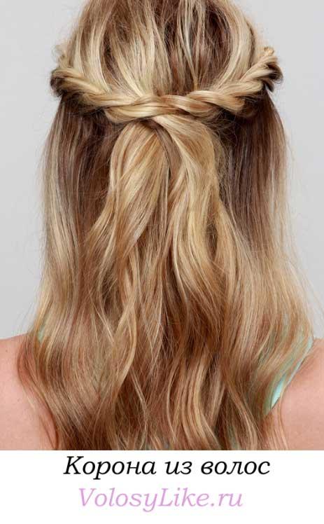 прическа корона из волос, фото